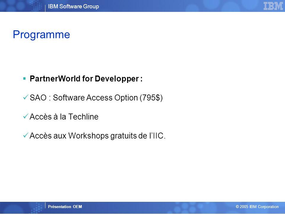 Business Unit or Product Name Presentation Title | Presentation Subtitle | Confidential © 2005 IBM Corporation 6 Programme PartnerWorld for Developper