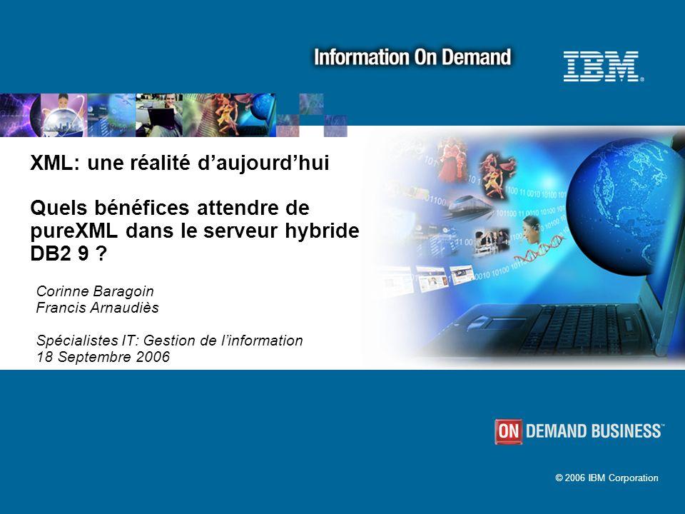 © 2006 IBM Corporation XML: une réalité daujourdhui Quels bénéfices attendre de pureXML dans le serveur hybride DB2 9 ? Corinne Baragoin Francis Arnau