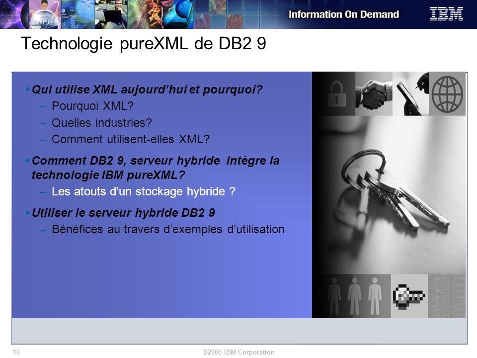 ©2006 IBM Corporation10 Qui utilise XML aujourdhui et pourquoi? –Pourquoi XML? –Quelles industries? –Comment utilisent-elles XML? Comment DB2 9, serve
