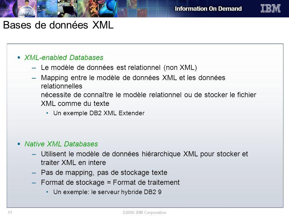©2006 IBM Corporation11 Bases de données XML XML-enabled Databases –Le modèle de données est relationnel (non XML) –Mapping entre le modèle de données