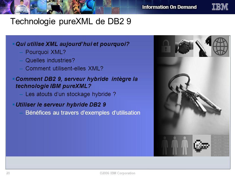 ©2006 IBM Corporation20 Qui utilise XML aujourdhui et pourquoi? –Pourquoi XML? –Quelles industries? –Comment utilisent-elles XML? Comment DB2 9, serve