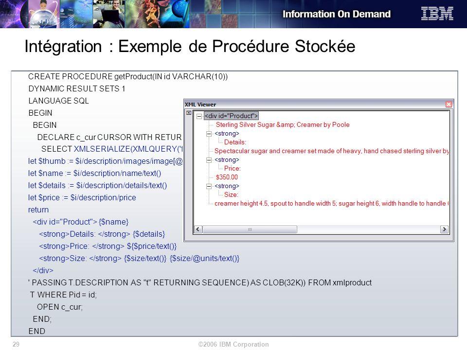 ©2006 IBM Corporation29 Intégration : Exemple de Procédure Stockée CREATE PROCEDURE getProduct(IN id VARCHAR(10)) DYNAMIC RESULT SETS 1 LANGUAGE SQL B