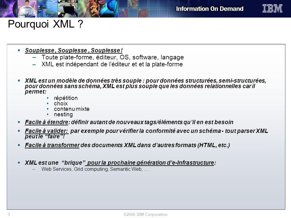 ©2006 IBM Corporation3 Pourquoi XML ? Souplesse, Souplesse, Souplesse ! –Toute plate-forme, éditeur, OS, software, langage –XML est indépendant de léd