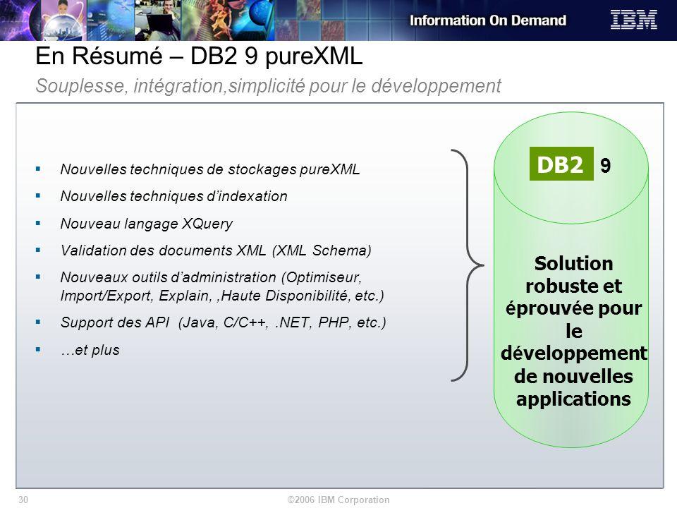 ©2006 IBM Corporation30 En Résumé – DB2 9 pureXML Nouvelles techniques de stockages pureXML Nouvelles techniques dindexation Nouveau langage XQuery Va