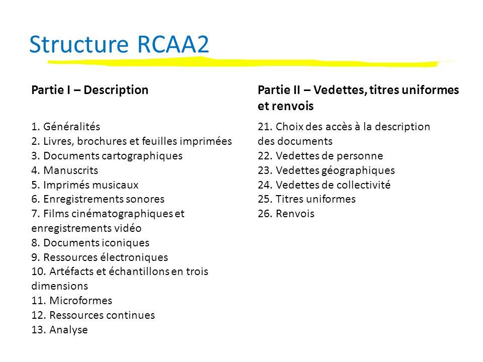 Utilisation de RDA dans les notices bibliographiques et dautorité Contexte Pré-RDATerminologie RDAEmplacement dans RDA Description Éléments descriptifs transcrits de la ressource Identifier les manifestations et les items Section 1 – chapitre 2 CollationDécrire les supportsSection 1 – chapitre 3 Notes sur le contenuDécrire le contenuSection 2 – chapitre 7 Modalités dacquisition et daccès Donner des informations sur lacquisition et laccès Section 1 – chapitre 4 Notes sur loeuvre et lexpression Décrire le contenu Enregistrer les relations primaires entre les oeuvres, les expressions, les manifestations et les items Section 2 – chapitre 7 Section 5 Notes citant dautres éditions et oeuvres Enregistrer les relations entre les oeuvres, les expressions, les manifestations et les items Section 8 Notice bibliographique