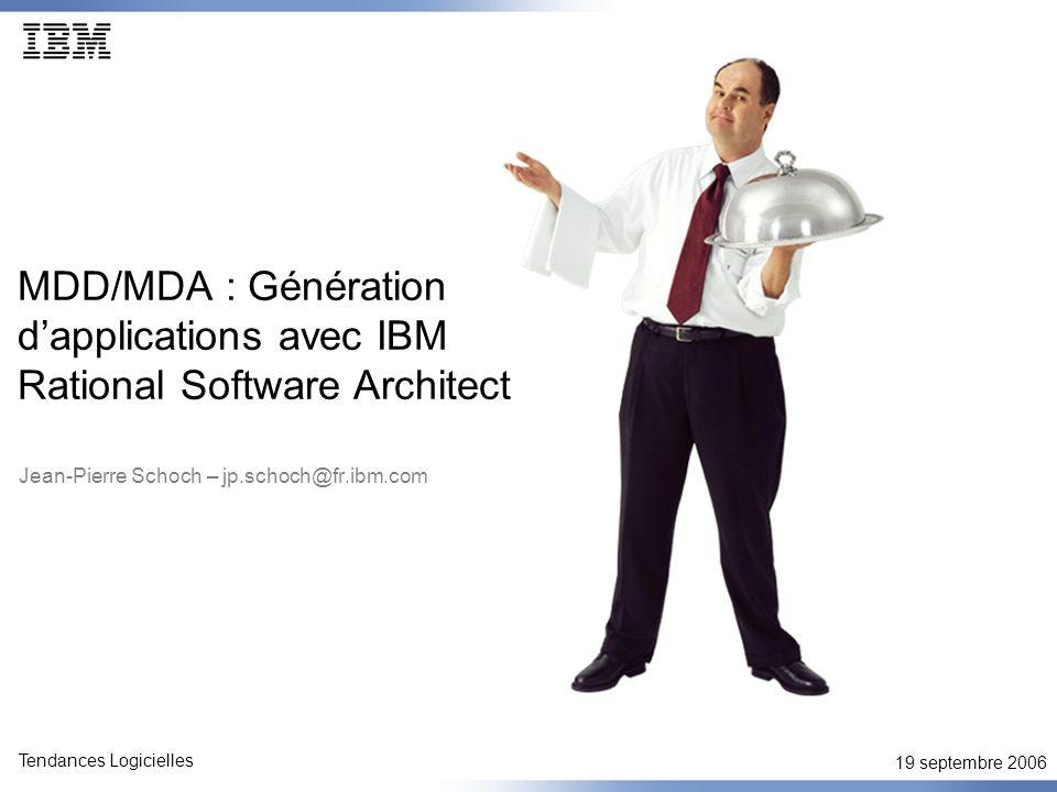 19 septembre 2006 Tendances Logicielles MDD/MDA Expertise technique directement capturée dans les transformations au lieu dêtre documentée sous forme de guides de projet ou dêtre « redécouverte » encore et encore… Pas que du code : beaucoup des « artefacts » logiciels autres que le code dérivés complètement ou partiellement à partir des modèles Parce que les modèles de haut niveau ne sont pas pollués par les détails dimplémentation, il est (beaucoup) plus facile de gérer les changements de technologie.