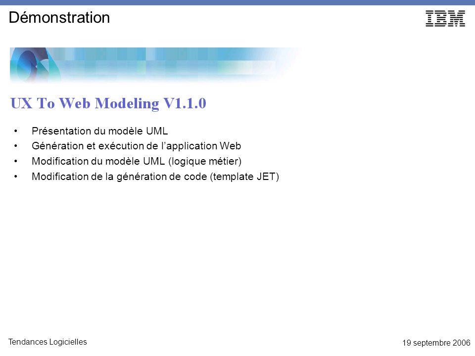 19 septembre 2006 Tendances Logicielles Démonstration Présentation du modèle UML Génération et exécution de lapplication Web Modification du modèle UML (logique métier) Modification de la génération de code (template JET)