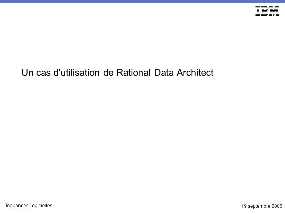 19 septembre 2006 Tendances Logicielles Un cas dutilisation de Rational Data Architect