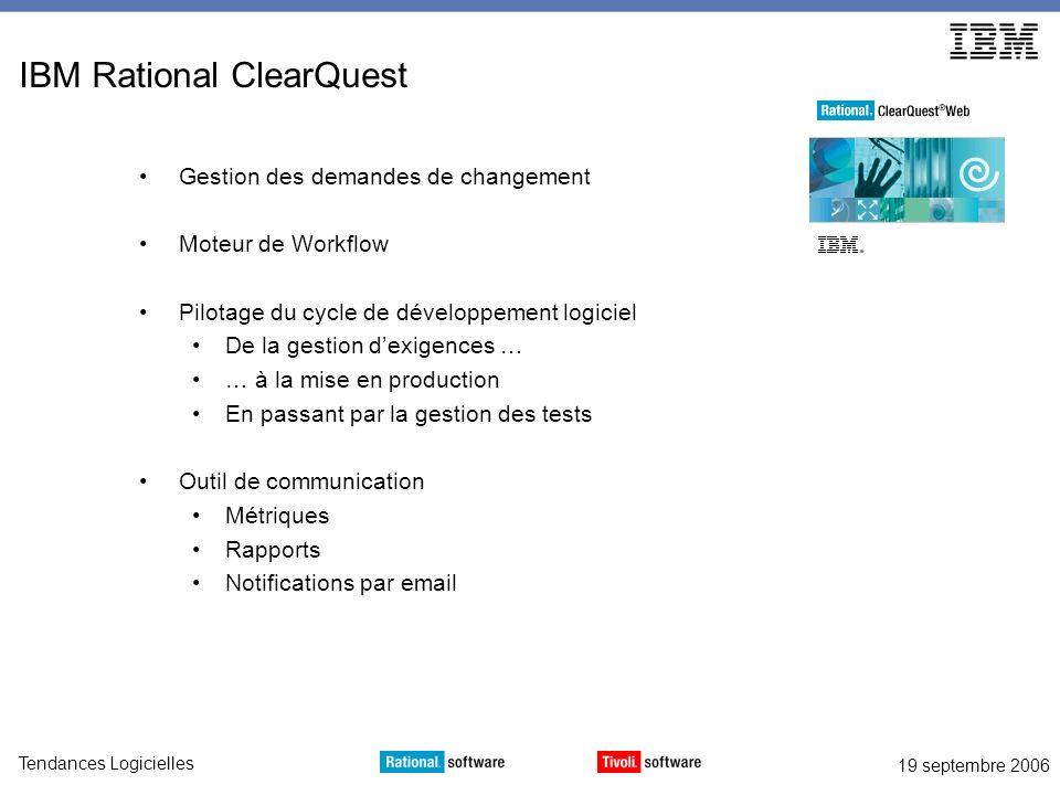 19 septembre 2006 Tendances Logicielles IBM Rational ClearQuest Gestion des demandes de changement Moteur de Workflow Pilotage du cycle de développeme