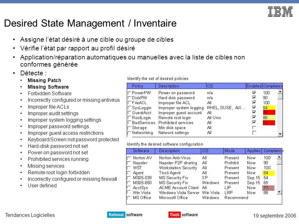 19 septembre 2006 Tendances Logicielles Desired State Management / Inventaire Assigne létat désiré à une cible ou groupe de cibles Vérifie létat par r
