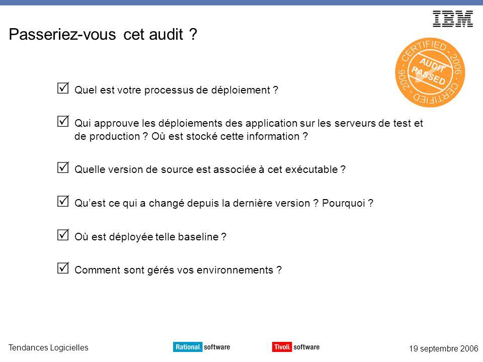 19 septembre 2006 Tendances Logicielles Passeriez-vous cet audit .