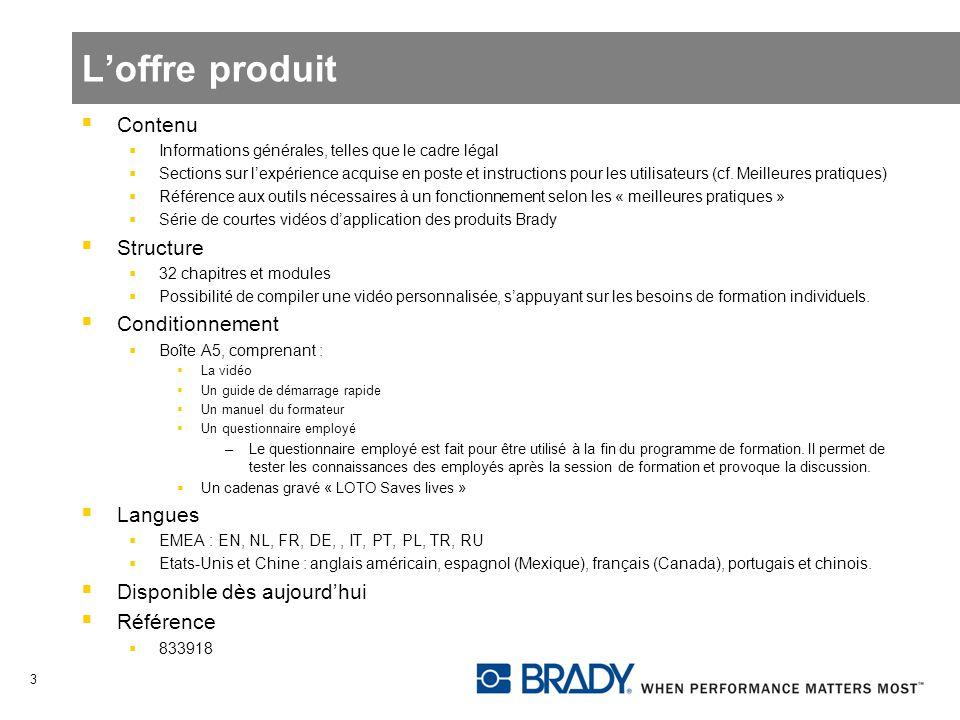 Loffre produit Contenu Informations générales, telles que le cadre légal Sections sur lexpérience acquise en poste et instructions pour les utilisateu