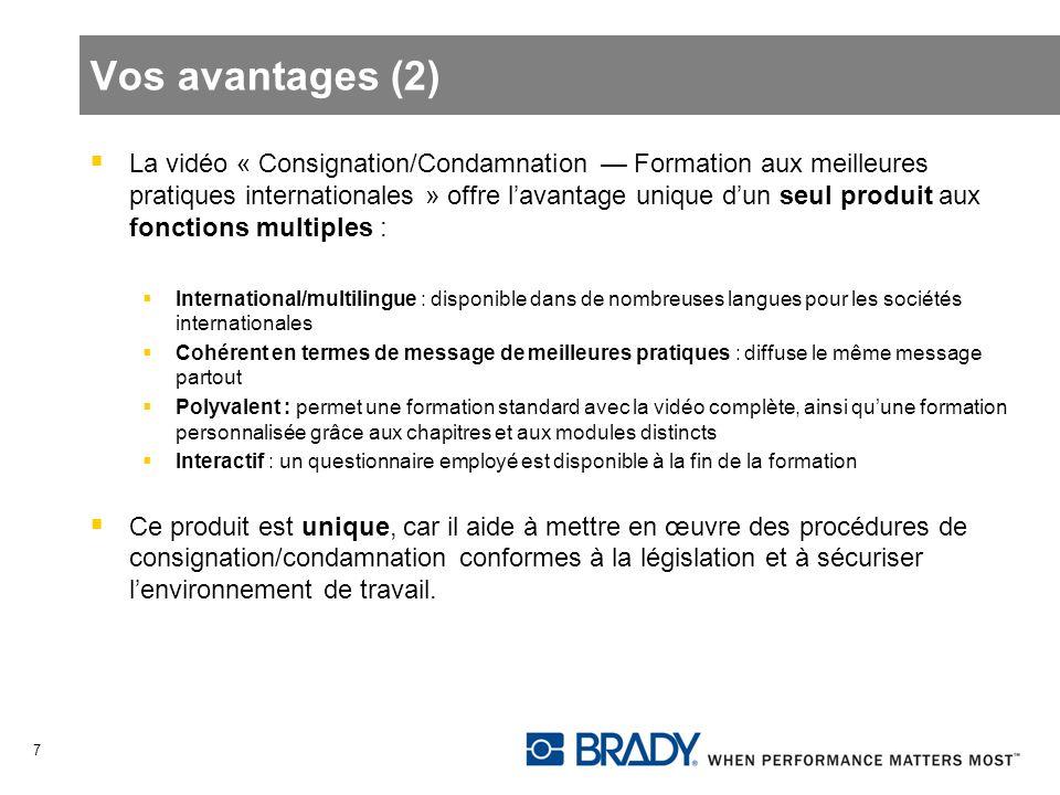 Vos avantages (2) La vidéo « Consignation/Condamnation Formation aux meilleures pratiques internationales » offre lavantage unique dun seul produit au