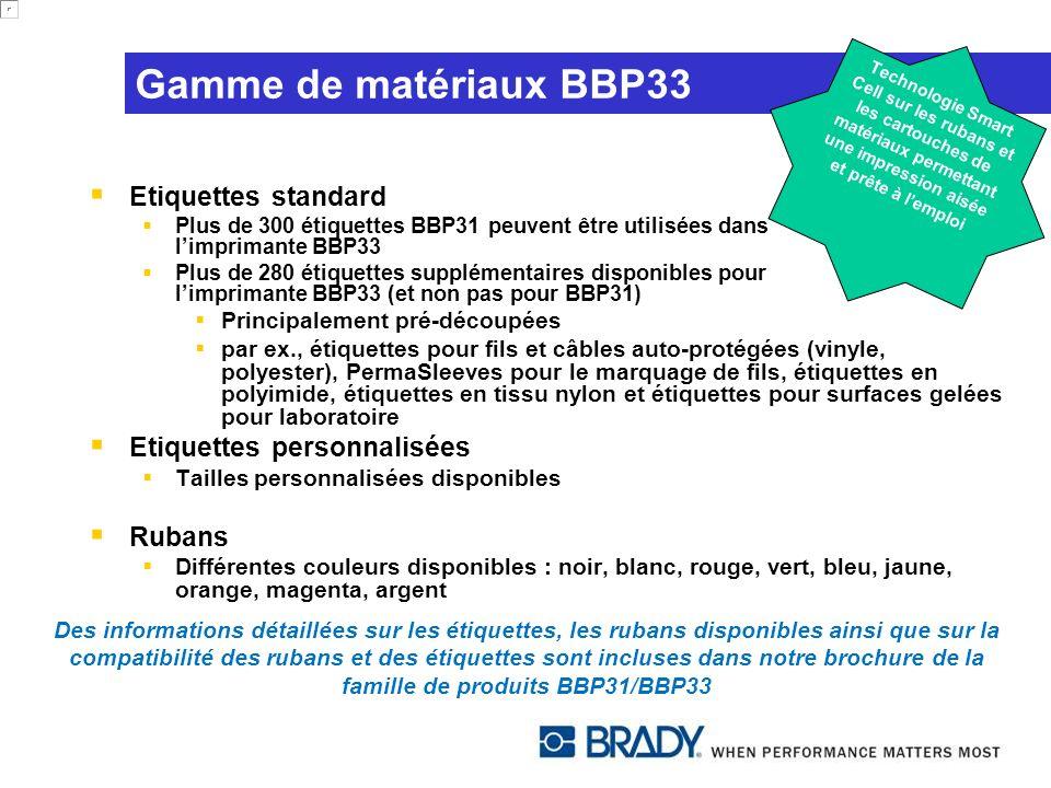 Gamme de matériaux BBP33 Etiquettes standard Plus de 300 étiquettes BBP31 peuvent être utilisées dans limprimante BBP33 Plus de 280 étiquettes supplém