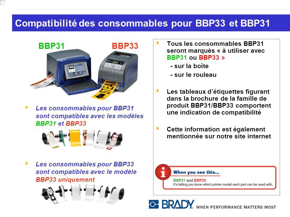 Compatibilité des consommables pour BBP33 et BBP31 Les consommables pour BBP31 sont compatibles avec les modèles BBP31 et BBP33 Les consommables pour