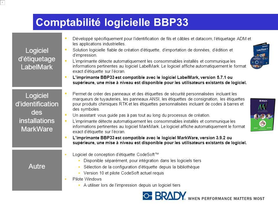 Comptabilité logicielle BBP33 Logiciel détiquetage LabelMark Développé spécifiquement pour lidentification de fils et câbles et datacom, létiquetage A