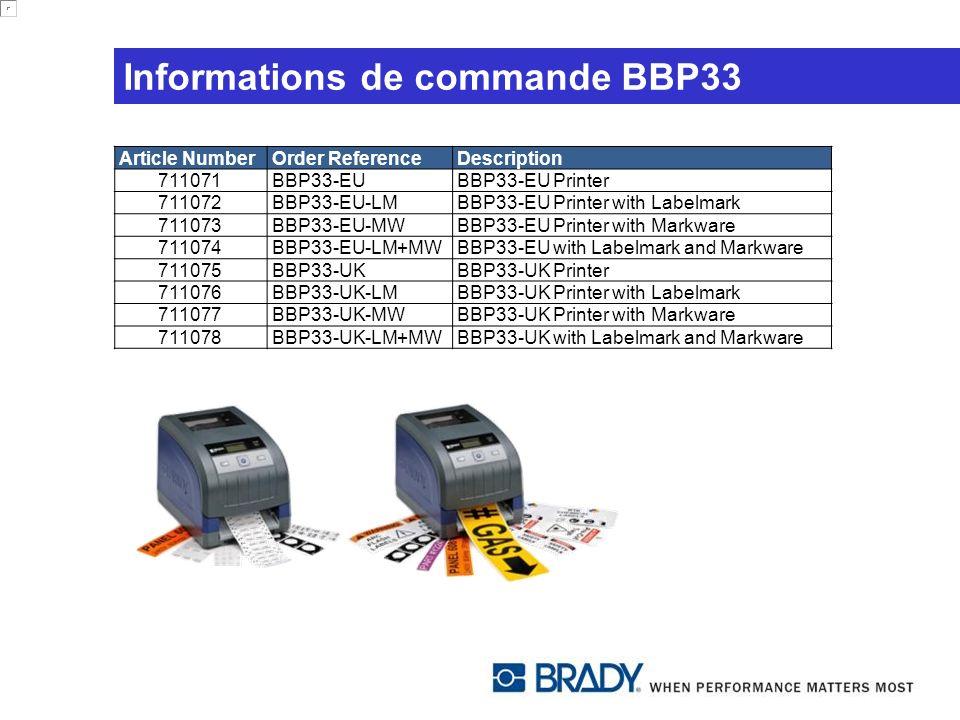 Informations de commande BBP33 Article NumberOrder ReferenceDescription 711071BBP33-EUBBP33-EU Printer 711072BBP33-EU-LMBBP33-EU Printer with Labelmar