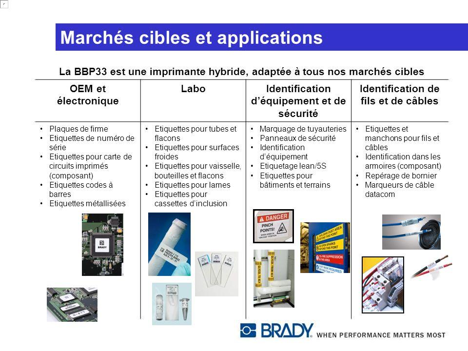 Marchés cibles et applications La BBP33 est une imprimante hybride, adaptée à tous nos marchés cibles OEM et électronique LaboIdentification déquipeme