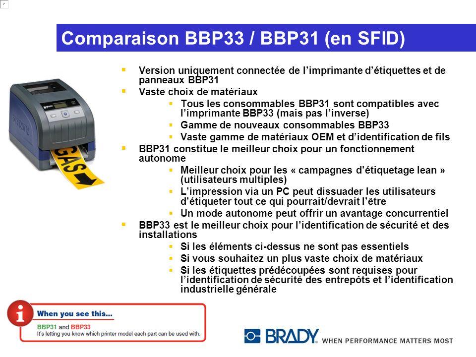 Comparaison BBP33 / BBP31 (en SFID) Version uniquement connectée de limprimante détiquettes et de panneaux BBP31 Vaste choix de matériaux Tous les con