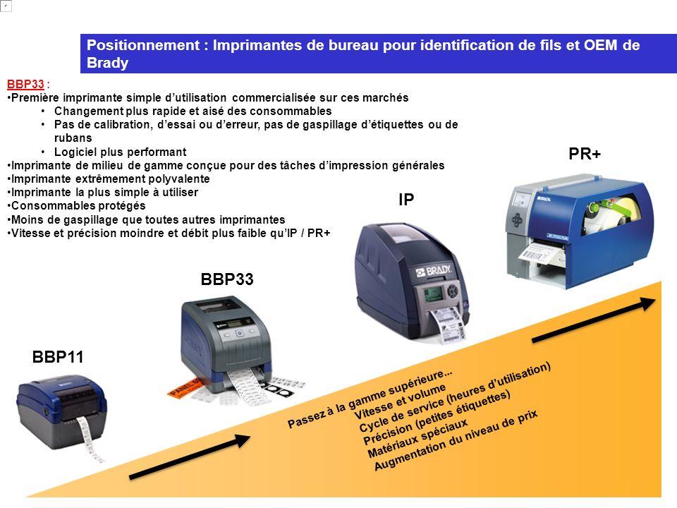 Positionnement : Imprimantes de bureau pour identification de fils et OEM de Brady BBP33 : Première imprimante simple dutilisation commercialisée sur