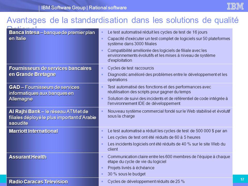 IBM Software Group | Rational software IBM and Business Partner Internal Use Only 17 Avantages de la standardisation dans les solutions de qualité Rat
