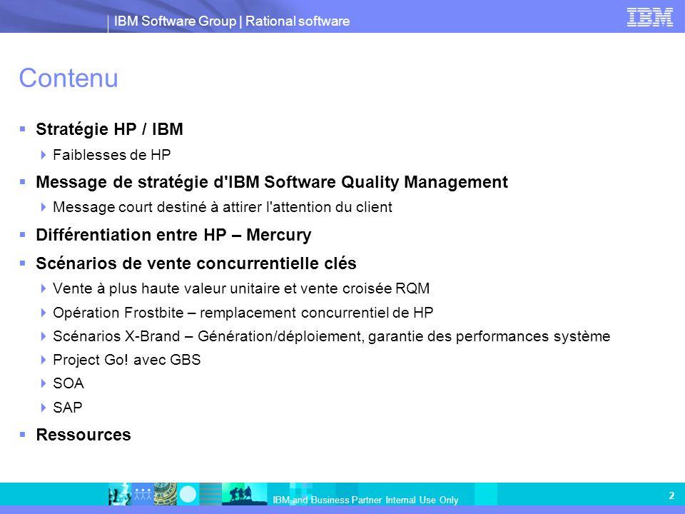IBM Software Group   Rational software IBM and Business Partner Internal Use Only 3 Stratégie d optimisation de la technologie métier HP Stratégie »Gestion de portefeuille et de la demande »Transformation SOA Applications »Sécurité d application »Validation des performances »Assurance qualité Opérations »Automation des services business »Gestion des services business »Gestion des services informatiques Point de vue de l analyste : aucun d eux ne parle beaucoup de BTO et ceux qui écrivent sur ALM ne mentionnent même pas HP (Gartner, Forrester, IDC en particulier) ALM – conception, développement manquants – HP limité au test et aux opérations