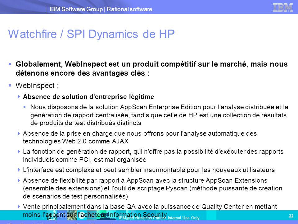IBM Software Group | Rational software IBM and Business Partner Internal Use Only 22 Watchfire / SPI Dynamics de HP Globalement, WebInspect est un pro