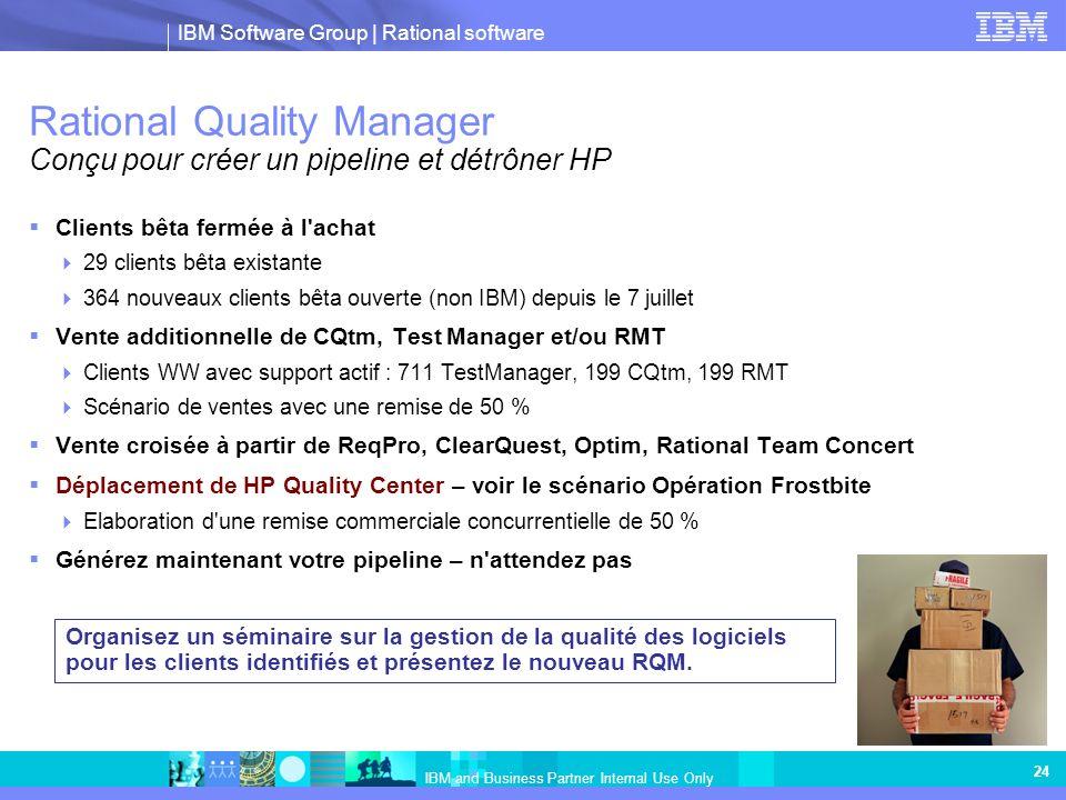 IBM Software Group | Rational software IBM and Business Partner Internal Use Only 24 Rational Quality Manager Conçu pour créer un pipeline et détrôner