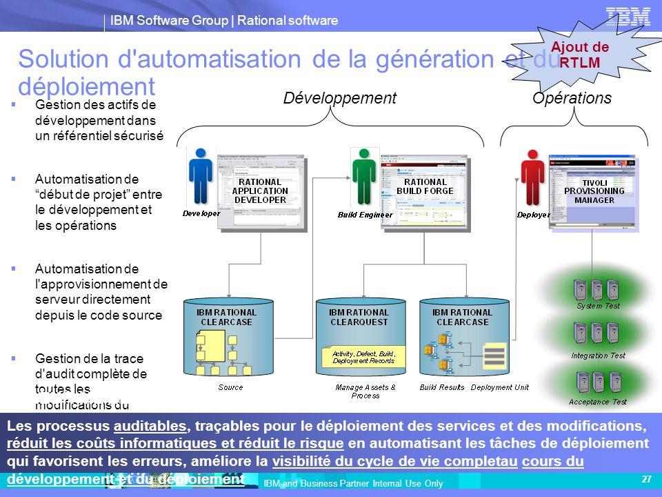 IBM Software Group | Rational software IBM and Business Partner Internal Use Only 27 Solution d'automatisation de la génération et du déploiement Déve
