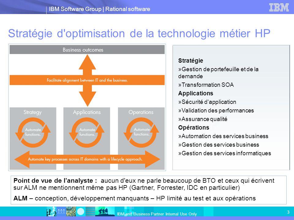 IBM Software Group   Rational software IBM and Business Partner Internal Use Only 4 Changement de leader sur le marché de la gestion de la qualité des logiciels (QM) IBMHP StratégieCycle de vie collaboratif (travail d équipe), fondé sur l automatisation, pour promouvoir la qualité des logiciels Solutions plus compétitives Automatisation de la technologie métier Centres d excellence pour l assurance qualité, les performances et SOA (pas une approche collaborative du cycle de vie) VentesRecrutement de 14 ingénieurs commerciaux auprès de HP 26 % de hausse de revenu QM annuel en 2007 1er trim 08 augmentation de 100 % par rapport au 1er trim 07 1er trim 08 augmentation de 39 % par rapport au 1er trim 07 Capacité diminuée & diluée Pertes au niveau des ventes et techniques commerciales Mercury Stabilité des revenus de test en 2007-08 CanauxIBM en passe d être leader sur le marché QM Depuis le 1er trimestre 07 : # Revenus en hausse de plus de 229 % pour les partenaires ; de plus de 117 % pour les partenaires VLR ; de 52 % pour les partenaires Hausse de revenue GSI de 22 % par an pour 1H2008 Rational a recruté 15 anciens partenaires Mercury Perte de GSI en faveur de Rational: Accenture, Capgemini, CSC, Atos Origin et bien d autres SupportLe support d IBM 7 j/7 et 24h/24 représente 20 % de la liste Clients satisfaits Remplacement du logiciel HP-Mercury chez 23 clients Support 7j/7 et 24h/24 de 18 % (comme Mercury) à 28 % (HP) Echec en fin d année 2007 avec le nouveau portail de support HP Retrait annoncé de WinRunner Très insatisfait du niveau de support Les analystes donnent leur avis sur la vue ALM de QM