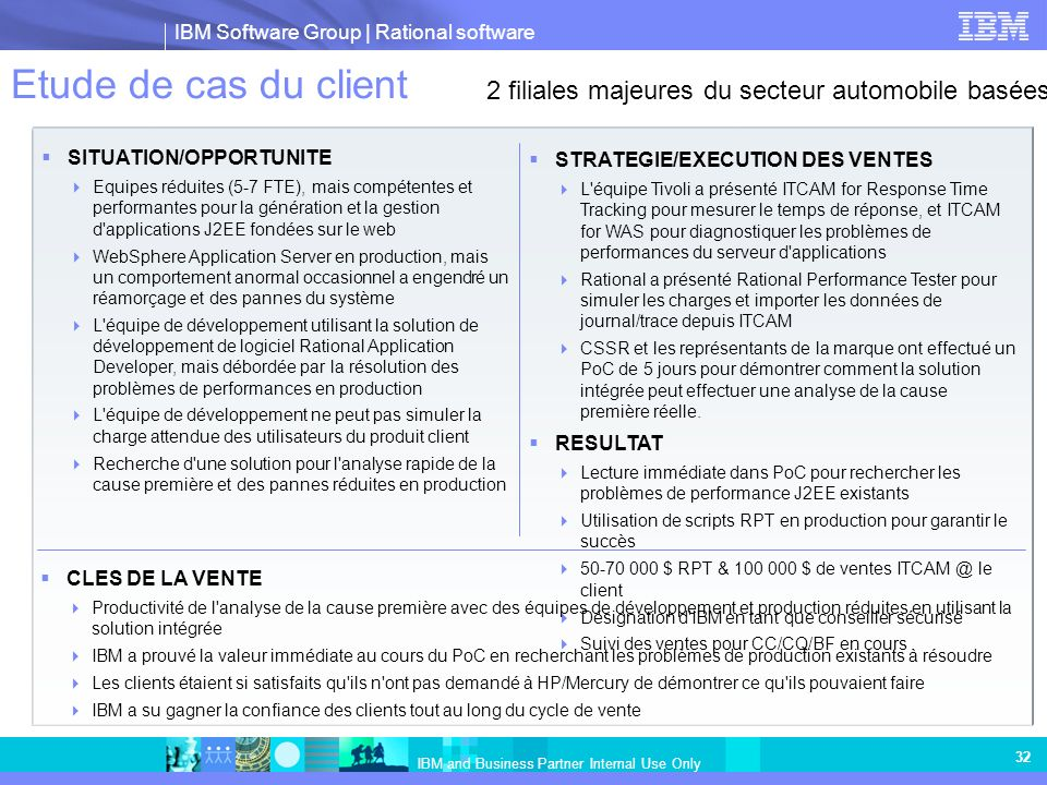 IBM Software Group | Rational software IBM and Business Partner Internal Use Only 32 Etude de cas du client SITUATION/OPPORTUNITE Equipes réduites (5-