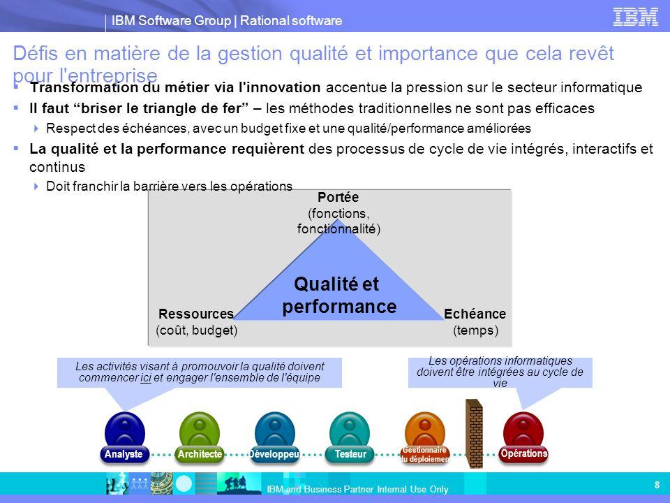 IBM Software Group | Rational software IBM and Business Partner Internal Use Only 8 Défis en matière de la gestion qualité et importance que cela revê