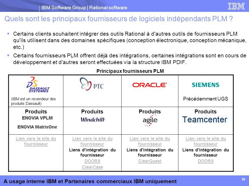 IBM Software Group | Rational software A usage interne IBM et Partenaires commerciaux IBM uniquement 10 Quels sont les principaux fournisseurs de logi