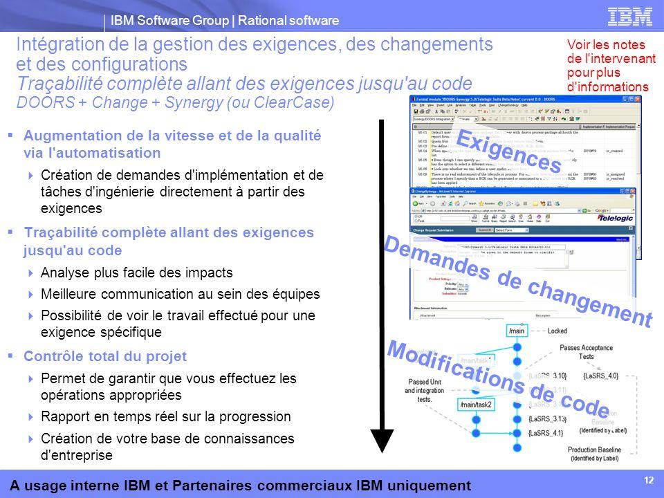 IBM Software Group | Rational software A usage interne IBM et Partenaires commerciaux IBM uniquement 12 Intégration de la gestion des exigences, des c
