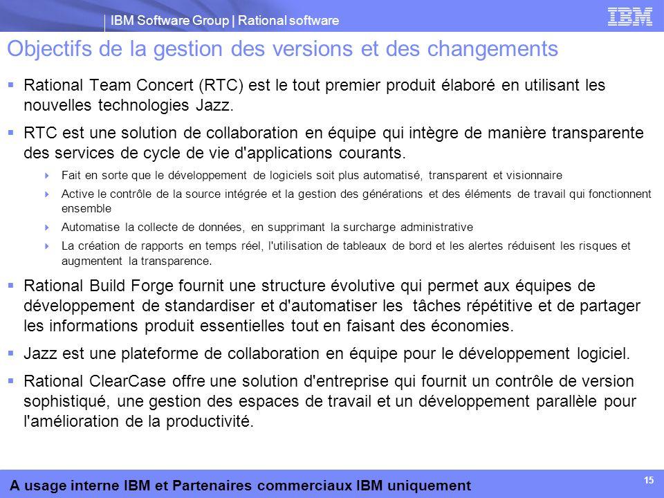 IBM Software Group | Rational software A usage interne IBM et Partenaires commerciaux IBM uniquement 15 Objectifs de la gestion des versions et des ch