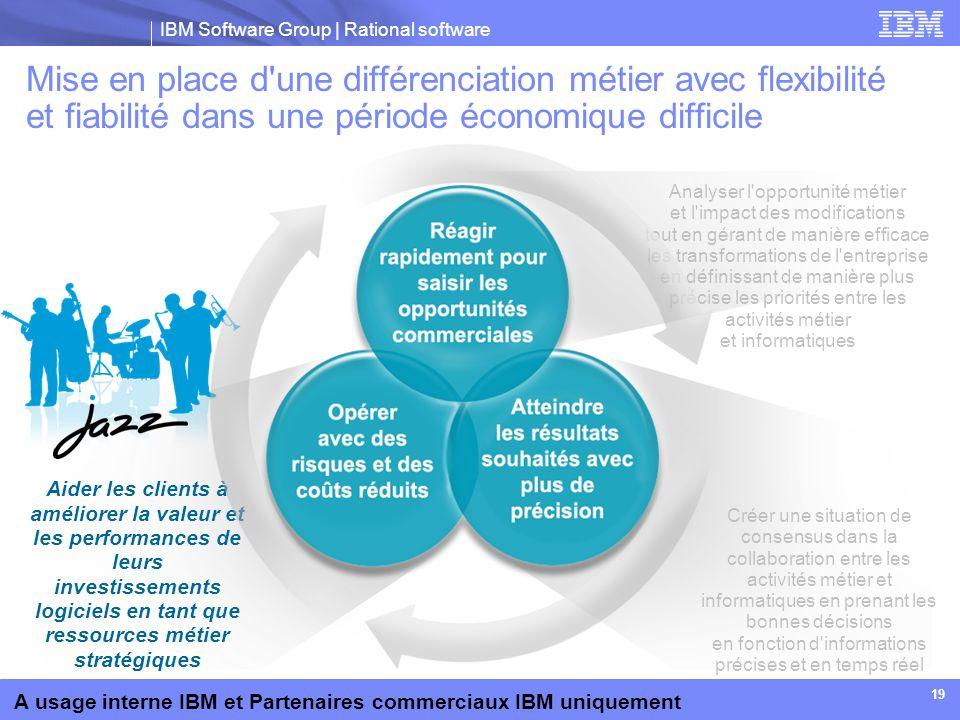 IBM Software Group | Rational software A usage interne IBM et Partenaires commerciaux IBM uniquement 19 Mise en place d'une différenciation métier ave