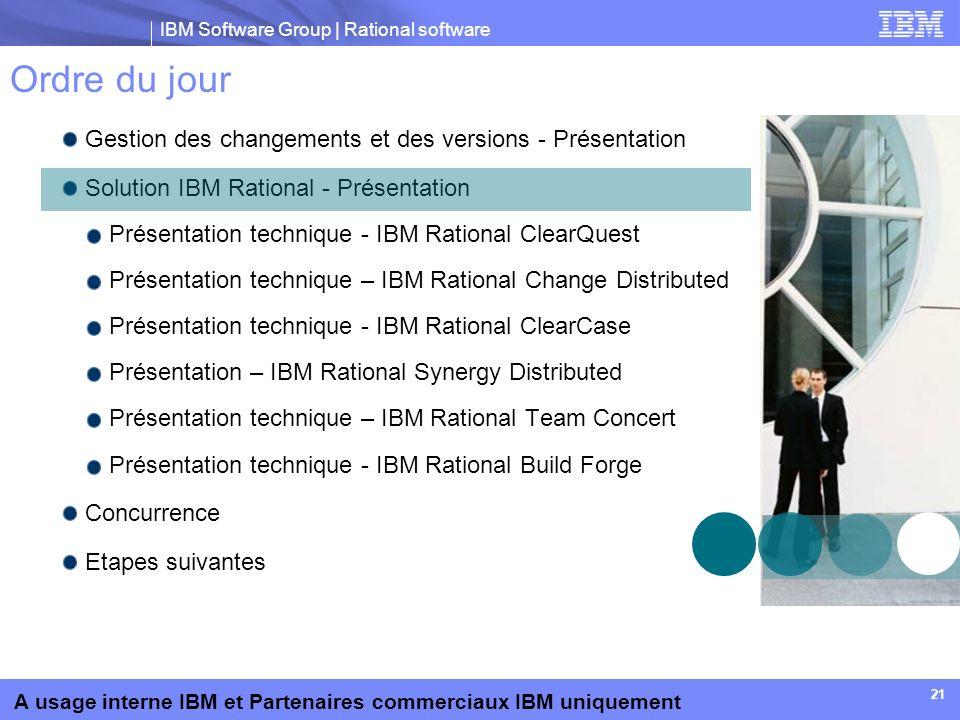 IBM Software Group | Rational software A usage interne IBM et Partenaires commerciaux IBM uniquement 21 Ordre du jour Gestion des changements et des v
