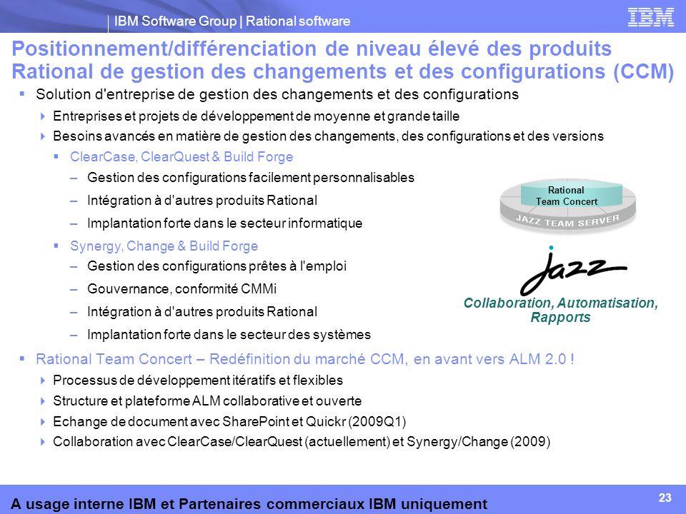 IBM Software Group | Rational software 23 A usage interne IBM et Partenaires commerciaux IBM uniquement Solution d'entreprise de gestion des changemen
