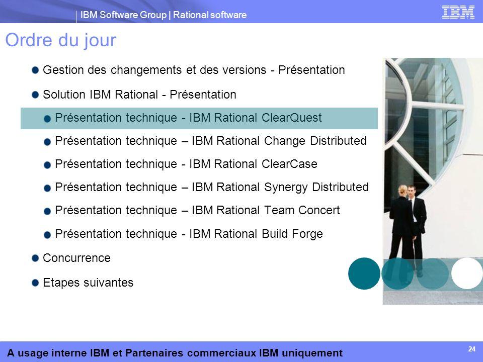 IBM Software Group | Rational software A usage interne IBM et Partenaires commerciaux IBM uniquement 24 Ordre du jour Gestion des changements et des v