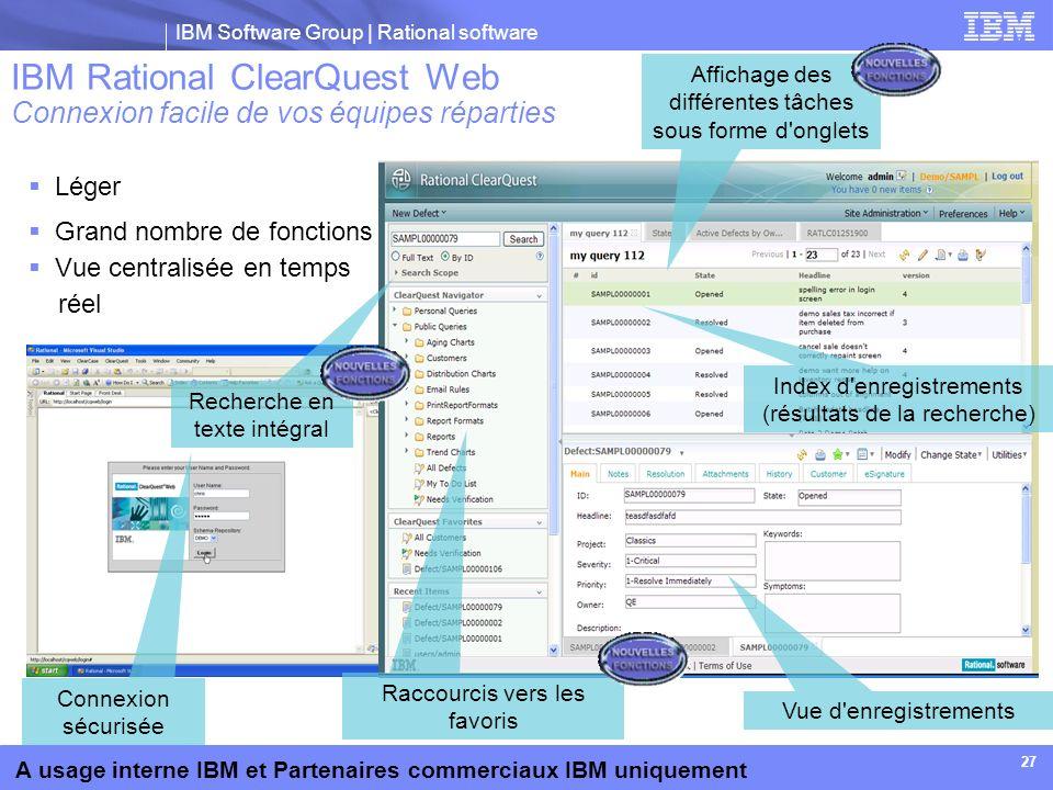 IBM Software Group | Rational software A usage interne IBM et Partenaires commerciaux IBM uniquement Léger Grand nombre de fonctions Vue centralisée e