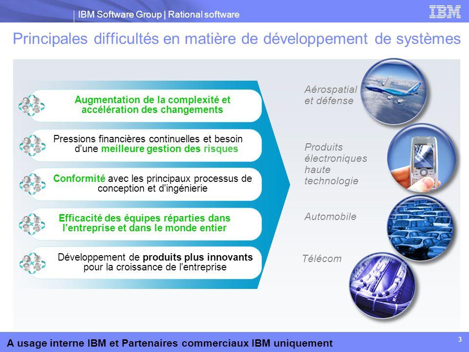 IBM Software Group | Rational software A usage interne IBM et Partenaires commerciaux IBM uniquement 54 Accroître la valeur des investissements Rational existants Prise en charge de groupes d équipes répartis par fonctions et zones géographiques Gestion collaborative du cycle de vie des applications Interaction transparente des exigences Rational, des produits de gestion des changements et de la qualité Prise en charge de petites équipes flexibles dans des environnements d entreprise de grande taille Interaction avec les ressource Subversion Développement Brésil Gestion des configurations et des générations Responsable de projet Analyste métier Développement Amérique du Nord Test Global SI Développement Australie Développement Europe Développement Chine Equipes de l entreprise Gestion des configurations et des générations Subversion Rational Team Concert SCM Eléments de travail Build ClearCase ClearQuest BuildForge...