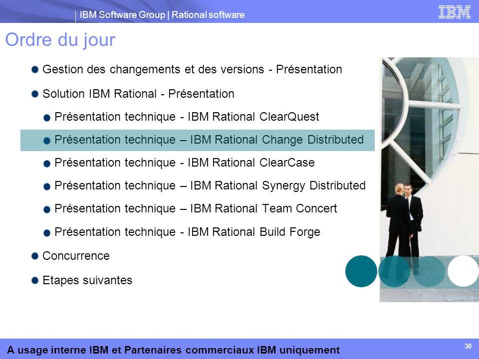 IBM Software Group | Rational software A usage interne IBM et Partenaires commerciaux IBM uniquement 30 Ordre du jour Gestion des changements et des v