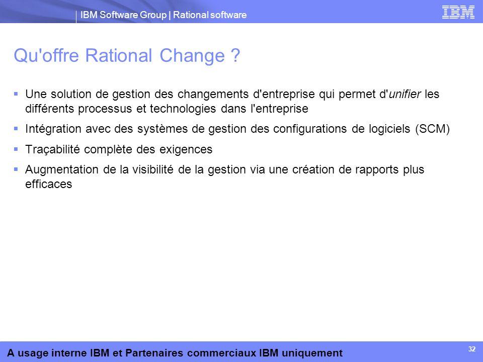 IBM Software Group | Rational software A usage interne IBM et Partenaires commerciaux IBM uniquement 32 Qu'offre Rational Change ? Une solution de ges