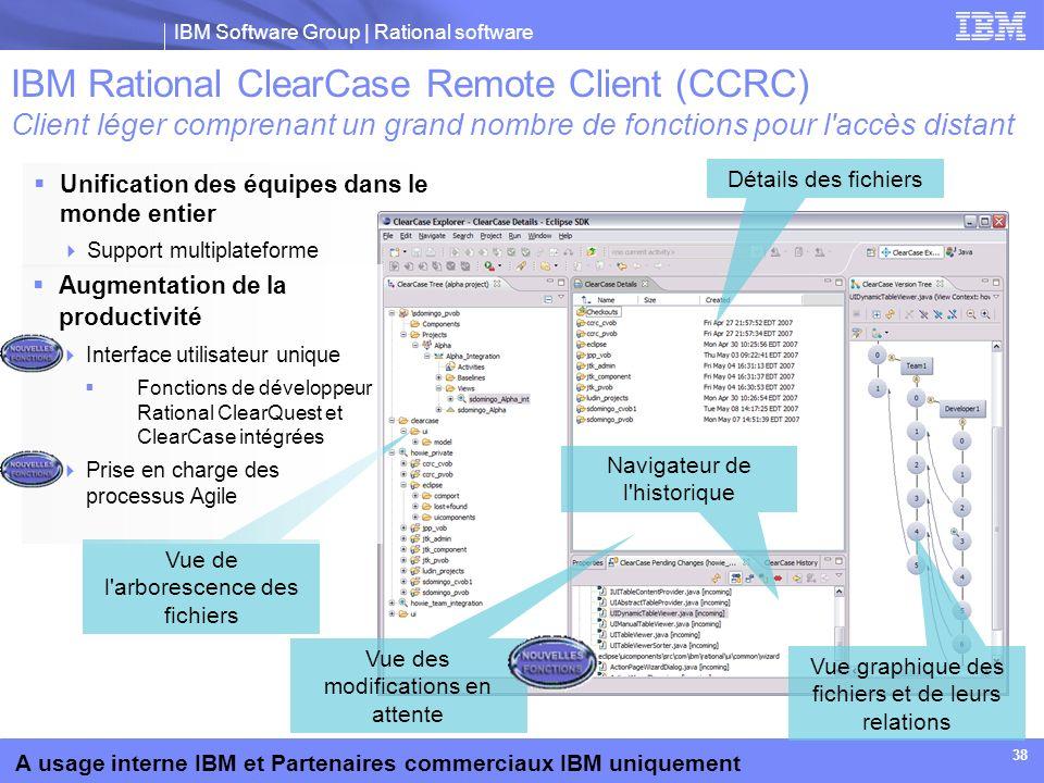 IBM Software Group | Rational software A usage interne IBM et Partenaires commerciaux IBM uniquement 38 Unification des équipes dans le monde entier S