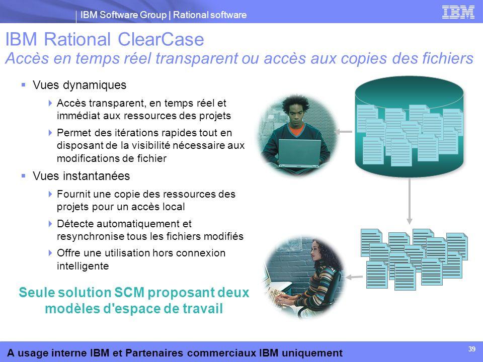 IBM Software Group | Rational software A usage interne IBM et Partenaires commerciaux IBM uniquement 39 Vues dynamiques Accès transparent, en temps ré