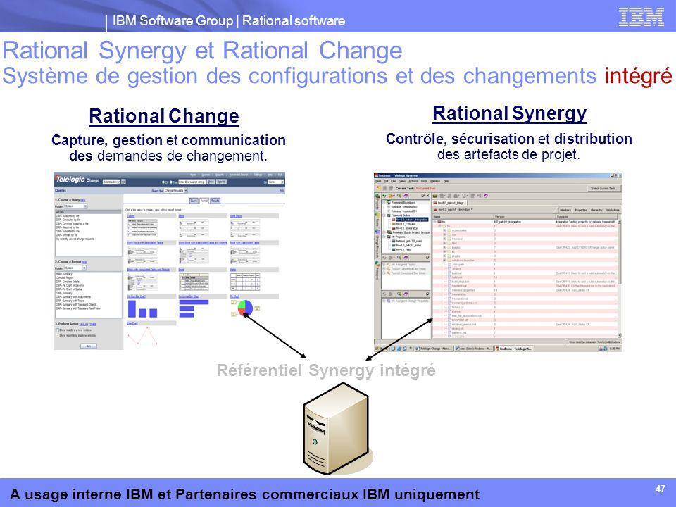 IBM Software Group | Rational software A usage interne IBM et Partenaires commerciaux IBM uniquement 47 Rational Synergy et Rational Change Système de