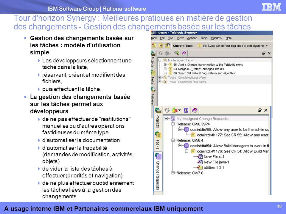 IBM Software Group | Rational software A usage interne IBM et Partenaires commerciaux IBM uniquement 48 Tour d'horizon Synergy : Meilleures pratiques