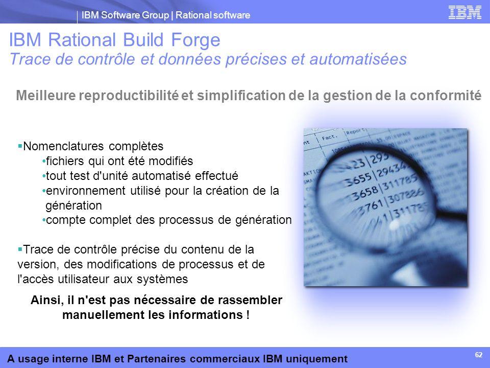 IBM Software Group | Rational software A usage interne IBM et Partenaires commerciaux IBM uniquement 62 Nomenclatures complètes fichiers qui ont été m
