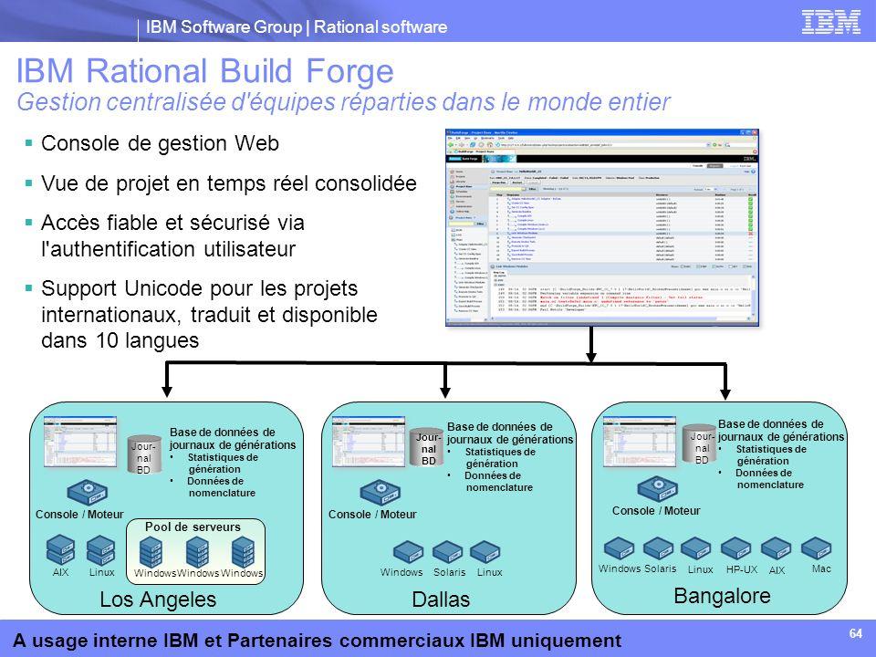 IBM Software Group | Rational software A usage interne IBM et Partenaires commerciaux IBM uniquement 64 Console de gestion Web Vue de projet en temps