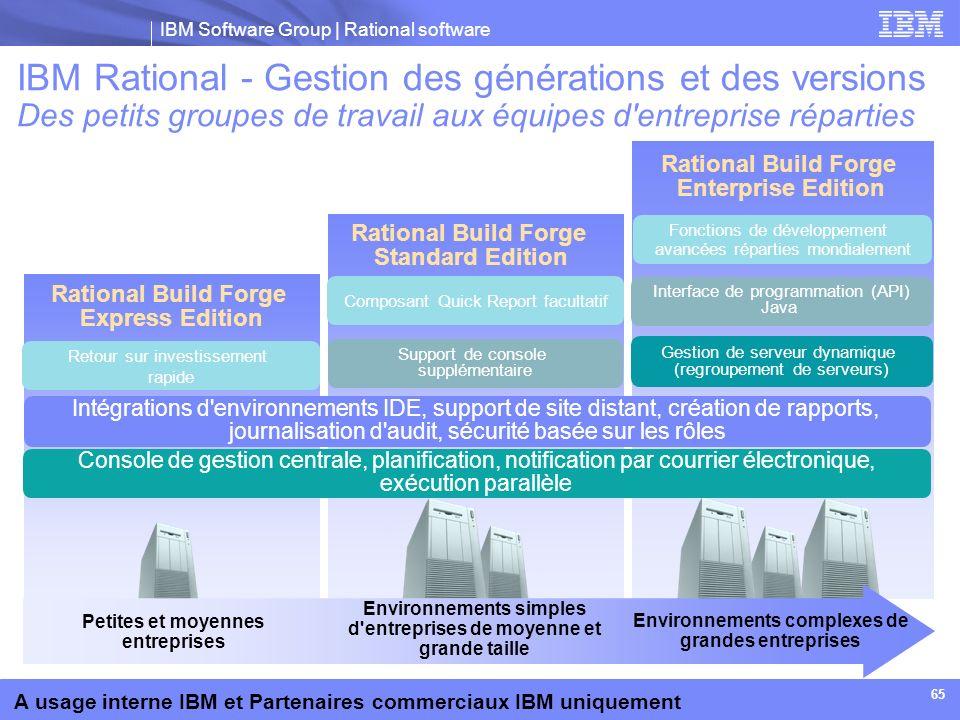 IBM Software Group | Rational software A usage interne IBM et Partenaires commerciaux IBM uniquement 65 Rational Build Forge Standard Edition Rational